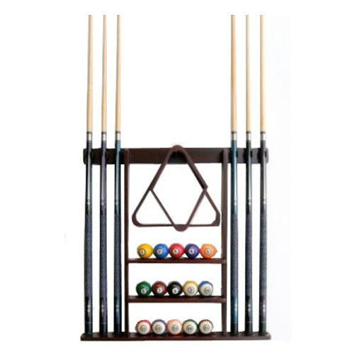 Learn More About 6 Pool Cue - Billiard Stick Wall Rack Made of Wood, Mahogany Finish
