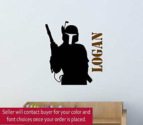 Boys Star Wars Wall Decal Teen Personalized Starwars fighter Bedroom Theme Decor Kids Room Space Darth Vader Luke Name College Dorm (26 X 27 inches)