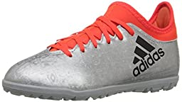 adidas Performance X 16.3 Tf J Skate Shoe (Little Kid/Big Kid), Silver Metallic/Black/Infrared, 1 M US Little Kid