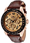 Invicta Men's 10711 Speedway Chronograph Rose Dial Brown Leather Watch
