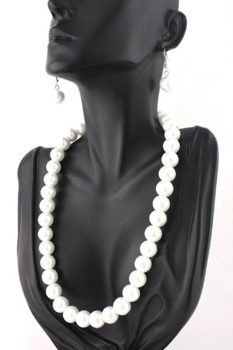 Ladies White Matching Pearl Adjustable Necklace & Drop Earrings Jewelry Set