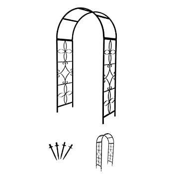 6.75 Metal Decorative Garden Arch with Stabilizing Anchor Stakes by Trademark Innovations (Black)