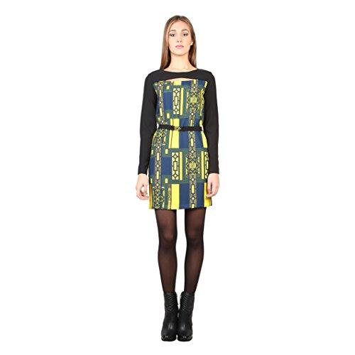 Versace Jeans - Vestito fantasia con cintura sottile - Donna (42 IT) (Nero/Giallo/Blu)