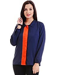MSMB Navy & Orange Coloured Polyester Shirt Small