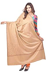 Weavers Villa - Womens Beige Embroided Kashmiri Woolen Shawls , Stoles