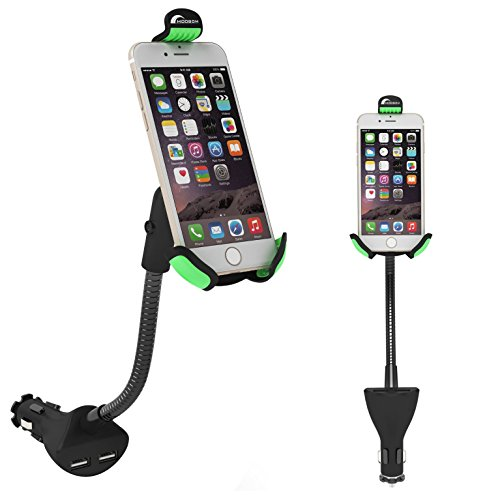 Moobom スマートフォン車載ホルダー充電器 360度回転調整可能 デュアルUSBポート iPhone各種/スマートフォン各種対応 ブラック