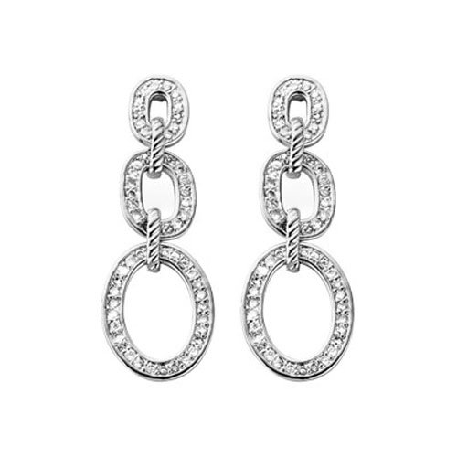 C.Z. (.925) STERLING SILVER STRAIGHT RHODIUM PLATED EARRINGS (Nice Holiday Gift, Special Black Firday Sale)