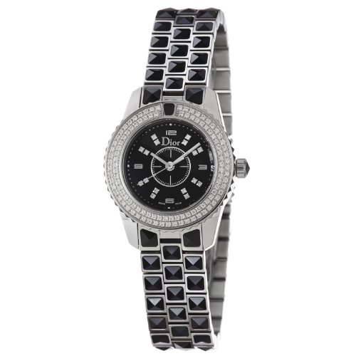 Christian Dior Women's CD112119M001 Christal Black Dial Diamond Watch