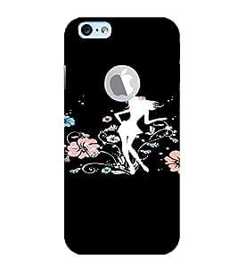 PrintVisa Girly Flower Design 3D Hard Polycarbonate Designer Back Case Cover for Apple iPhone 6 Logo
