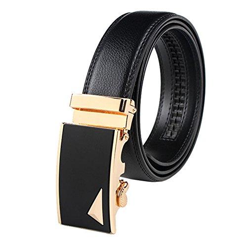 Jasmin Mens Business Dress Suit Black Leather Belt With Auto Lock Buckle Black
