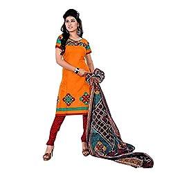 Paras Women's Unstitched Salwar Suit (Orange_Free Size)