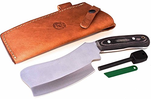 CFK Cutlery Company USA D2 TRAIL BOSS VI CAMP-CLEAVER Micarta Camping Bushcraft Hunting Skinning Knife with Leather Sheath & Fire