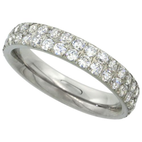 Surgical Steel 2-Row Eternity Band Ring Cubic Zirconia Stones 4mm, size 5.5