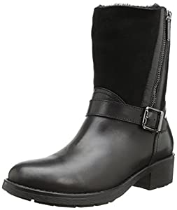 Aquatalia by Marvin K. Women's Saphire Motorcycle Boot,Black Calf Shearling,8 M US