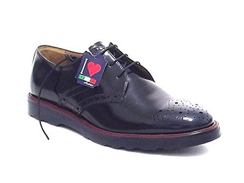 Soldini uomo, 19111, scarpa stile inglese in pelle spazzolata, colore blu