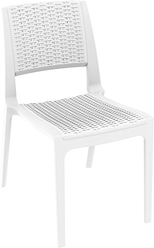 Clear Chair Store 830W Verona Resin Wickerlook Stacking Patio Chair (Set of 4), White (Resin Outdoor Stacking Chairs compare prices)