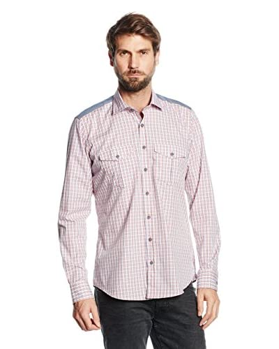 Mattschwarz Camicia Uomo Modern Fit [Bianco/Rosso Chiaro]
