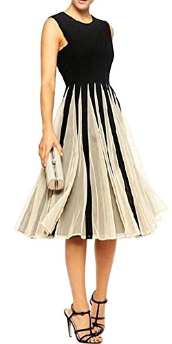 Ladies A-line Knee Length Prom Cocktail Party Picnic Dress