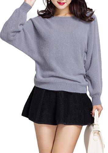 dreshow Womens Round Neck Batwing Sleeve Sweater Cardigan grigio taglia unica