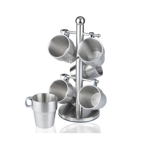 Stainless steel cup coffee mugs with holder 7-piece Set