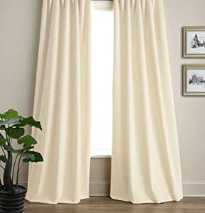 R LANG Solid Grommet Top Modern Fashion Style Curtain Panel Cream