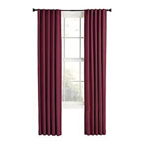 Style Selections Bernard 84 In L Solid Red Back Tab Curtain Panel Home Kitchen