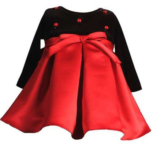 New Long Sleeve Velvet Christmas Holiday Dress 3M to 18M