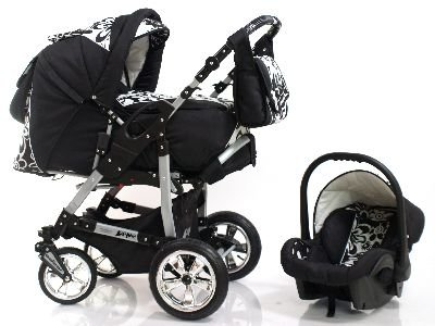 ADBOR Combo Pram Pepe + Car Seat No.26 black / flower