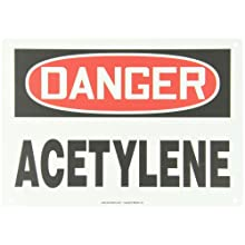 "Accuform Signs, Danger Acetylene, 10"" X 14"", Plastic"