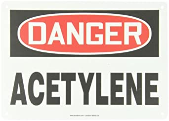 "Accuform Signs MCHL174VP Plastic Safety Sign, Legend ""DANGER ACETYLENE"", 10"" Length x 14"" Width x 0.055"" Thickness, Red/Black on White"