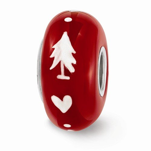 Sterling Silver Reflections Hand Painted Red Christmas Hearts Glass Bead