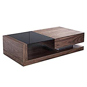 Coffee Table One Drawer Black Tempered Glass Top 130 X 70 Cm Walnut Porto
