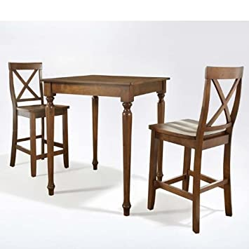 3 Pc Pub Dining Set w Turned Leg and X-Back Stools in Cherry