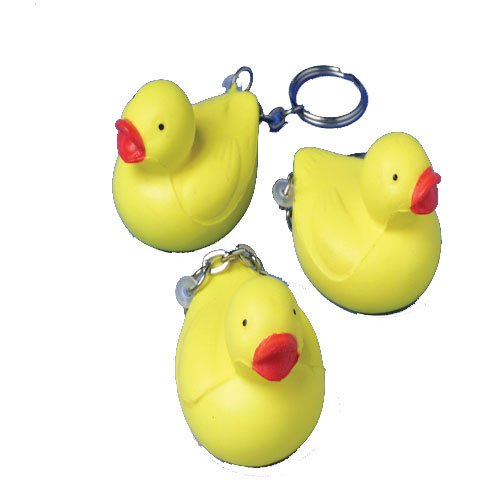 Lot Of 12 Yellow Rubber Ducky Design Foam Key Chains