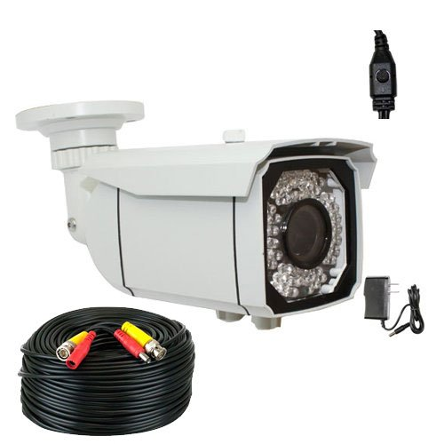 """Professional 1/3"""" Exview Had Ccd Ii With Effio-E Dsp Devices 700Tvl Ir Surveillance Security Camera With 200Ft Bnc Cable & Power Adapter Kit --700 Tv Lines, 2.8~12Mm Varifocal Lens, 66 Ir Leds, 196 Feet Ir Distance. Wdr(Wide Dynamic Range). Osd Menu."""