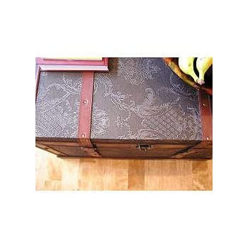 Decorative Storage Boxes / Vintage Decorative Boxes, Medium Faux Leather Wooden Chest Steamer Trunk ss-sienna-trunk-M,