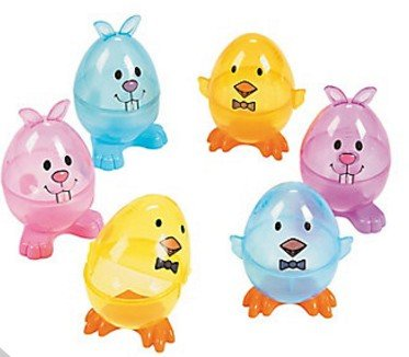 Fun Express イースターエッグ プラスチック 卵 キュートなイースターバニー&ひよこ 透明 12個入り [並行輸入品]