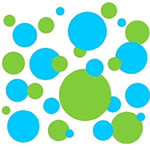 Set of 130 Sky Blue and Lime Green Polka Dots Circles Wall Decor Graphic Vinyl Lettering Mural Decal Stickers Kit Peel and Stick Appliques