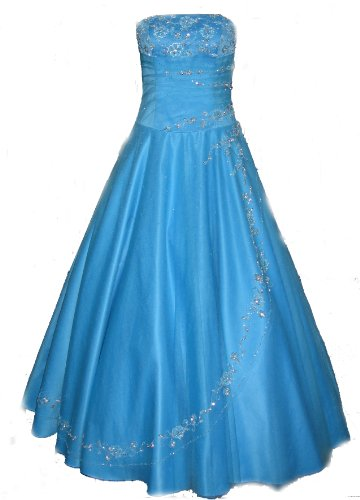 C52 Aqua Corset Embroidery Wedding Bridesmaid Formal Gown