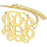 Solid 10K Gold 3 Initials Personalized Monogram Necklace 1 Inch Fine Wedding Gift Jewelry GM31C