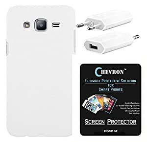 Chevron Rubberized Matte Hard Back Cover Case for Samsung Galaxy On5 with HD Screen Guard & USB Mobile Wall Charger (White)