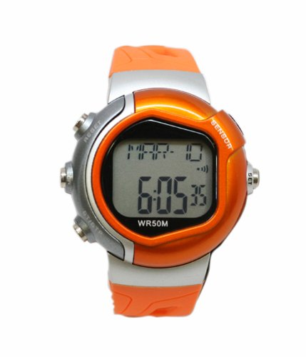 Cheap Pulse Rate Watch in Orange and Silver with Heart Rate Monitor (B004S7HTBO)