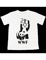 オモシロTシャツ・パンダプロレス【半袖】 (L 身幅52.5 肩幅45 着丈71 袖丈21.5 (�))