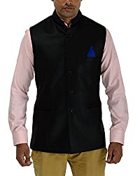 Panache Jute Men's Nehru Jacket (Black,42)