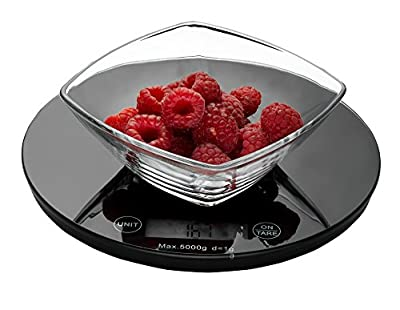 Weigh To Go! Digital Food Scale - Digital Kitchen Scale Measures lb, oz, ml And gram Scale Features Easy Clean Smooth Glass Top, Touch Button Operation, Tare Button And Super Sleek Low Profile