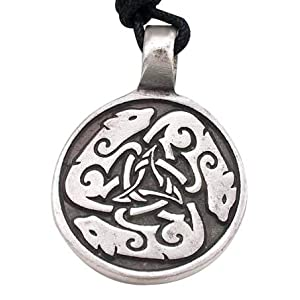 Dogs Dog Wolf Celtic Circle Pewter Pendant Necklace