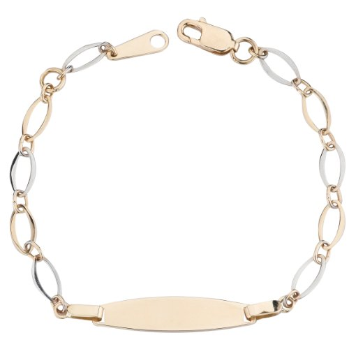 14k Two Tone Gold Fancy Baby ID Bracelet, 6.25