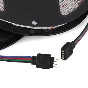 SODIAL(R) Astillas 10M banda ancha 2x5m Flexible Iluminado RGB LED RGB 5050 SMD 600 12V DC Etanche