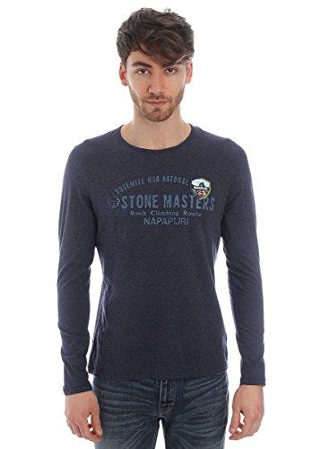 Napapijri-T-shirt in cotone con stampa - blu-Male-4794784