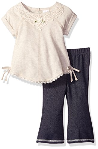 Youngland Baby Girls' Tunic and Denim Bell Bottom Set, Oatmeal, 18 Months